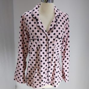Victoria's Secret pink flannel pajama top-sz M
